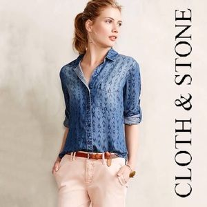 Anthro Cloth & Stone 100% Lyocell Button Down Med